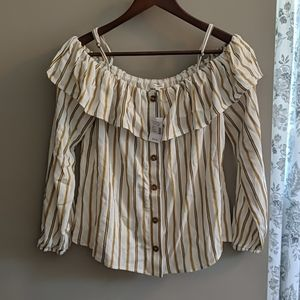Adorable pinstripe/button up off the shoulder tee